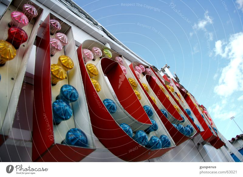 Blue Joy Clouds Leisure and hobbies Fairs & Carnivals Carousel Fair Fairy lights Vertigo Amusement Park