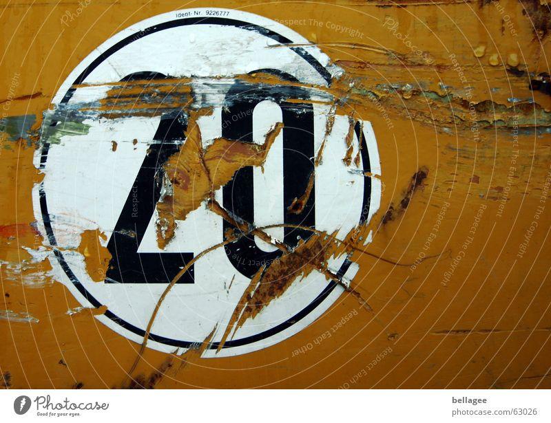 20 Yellow Old Label Broken Round Digits and numbers Remainder Scrap tween Scratch Orange Circle Destruction Metal