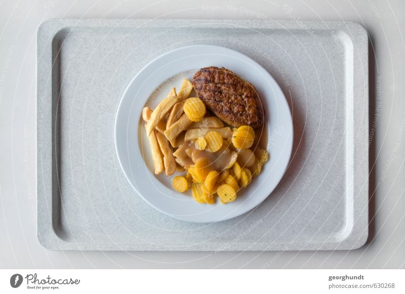 Mensa: healthy yellow-brown disc mixture III Food Meat Sausage Vegetable French fries boulette Meat loaf Carrot Nutrition Lunch Crockery Plate tablet Overweight