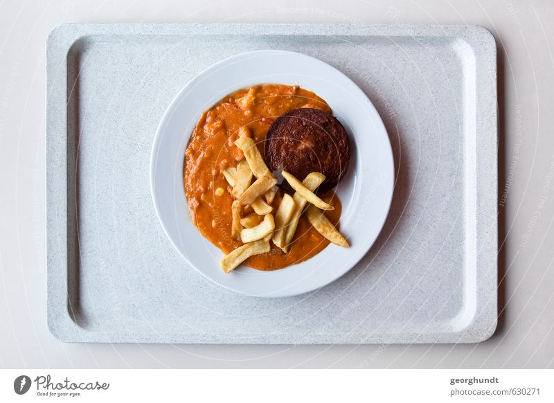 Mensa: healthy yellow-brown disc mixture I Food Meat Sausage chasseur sausage French fries Sauce escalope chasseur Nutrition Eating Lunch Crockery Tray