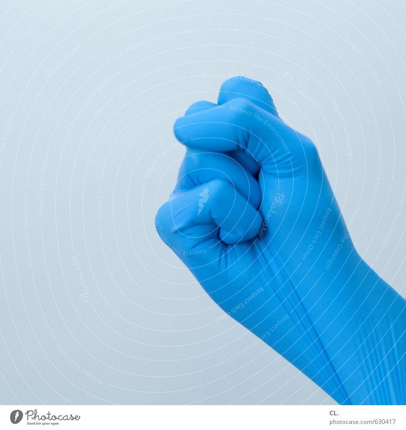 ready when you are Human being Hand Fingers 1 Gloves Blue Power Protection Safety Fist Threaten Menacing Operation Cleaning Rubber Latex gloves Colour photo