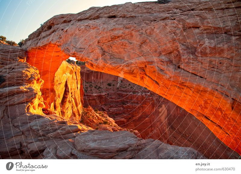 Sky Nature Vacation & Travel Blue Landscape Exceptional Rock Brown Orange Illuminate Fantastic Adventure USA Discover Americas Rock arch