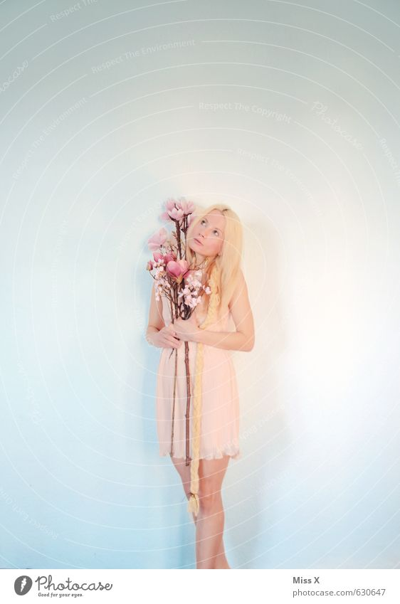 spring fever Beautiful Valentine's Day Human being Feminine Young woman Youth (Young adults) 1 18 - 30 years Adults Spring Flower Blossom Dress Blonde