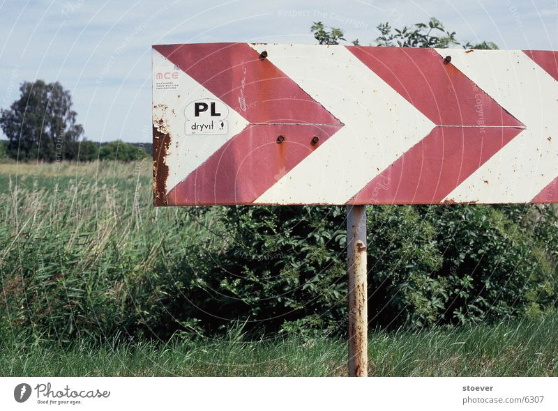 eastward expansion Red White Europe Poland near Szczecin Signs and labeling Arrow