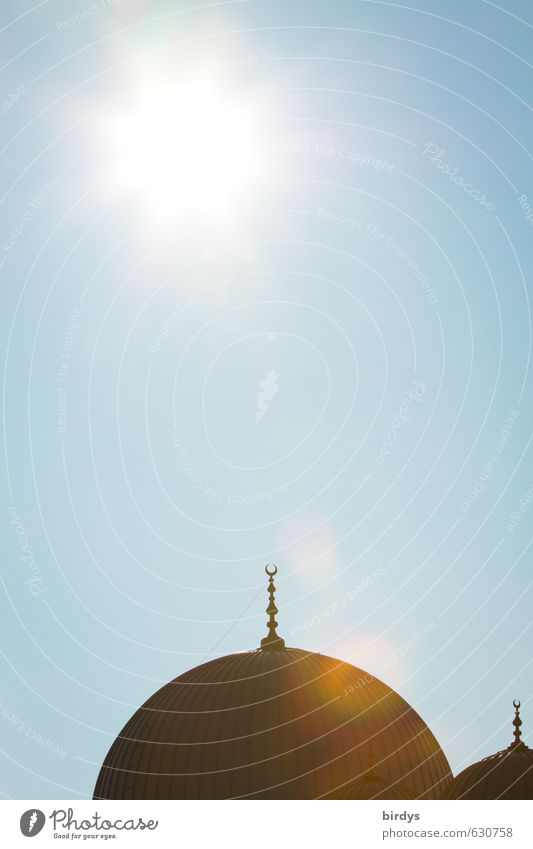 mosque Cloudless sky Sun Sunlight Beautiful weather Architecture Mosque Roof Domed roof Sign Arabian crescent Illuminate Esthetic Exotic Hot Bright Blue