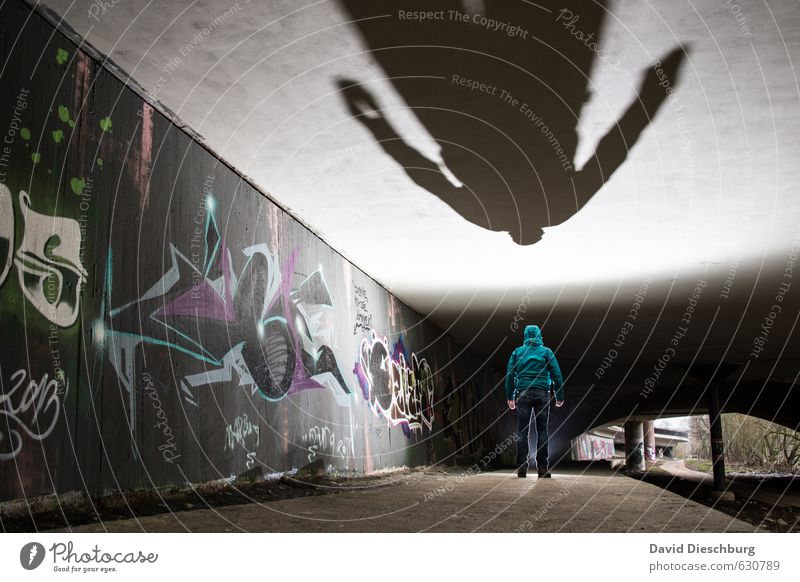 Bigger than you are II Masculine Man Adults Body 1 Human being Town Bridge Tunnel Facade Gray Green Black White Graffiti Spray Art Work of art Creepy Ceiling