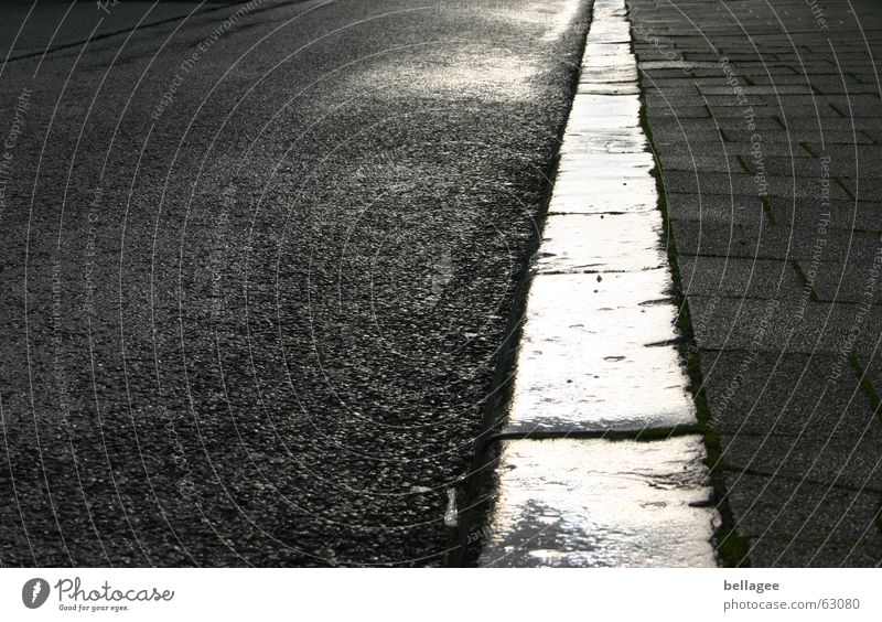 Street Stone Lanes & trails Rain Line Moody Wet Perspective Corner Asphalt Sidewalk Escape Paving stone Tar Frontal Curbside