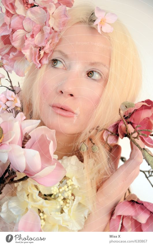 Human being Nature Youth (Young adults) Beautiful Young woman Flower 18 - 30 years Face Adults Eroticism Emotions Feminine Spring Blossom Moody Pink