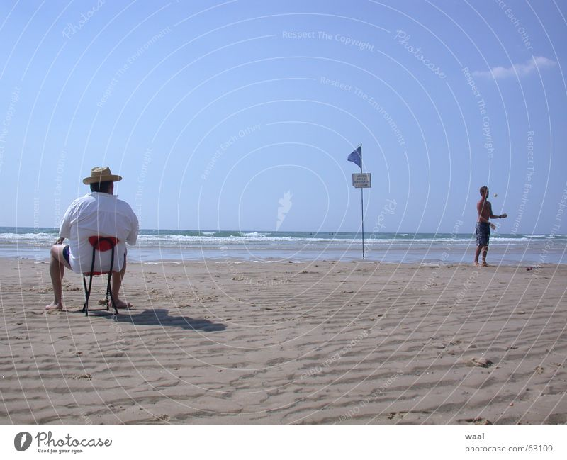 dream image Beach Summer Humor Juggle Chair Furniture France Human being Funny Sand