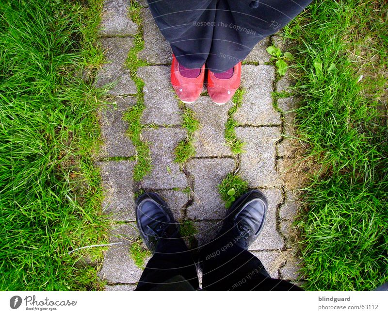 What do we do now? Footwear Stand Kissing Welcome Hello Goodbye Embrace Black Red Love Grass To be silent Together Encounter Emotions Above Couple kiss