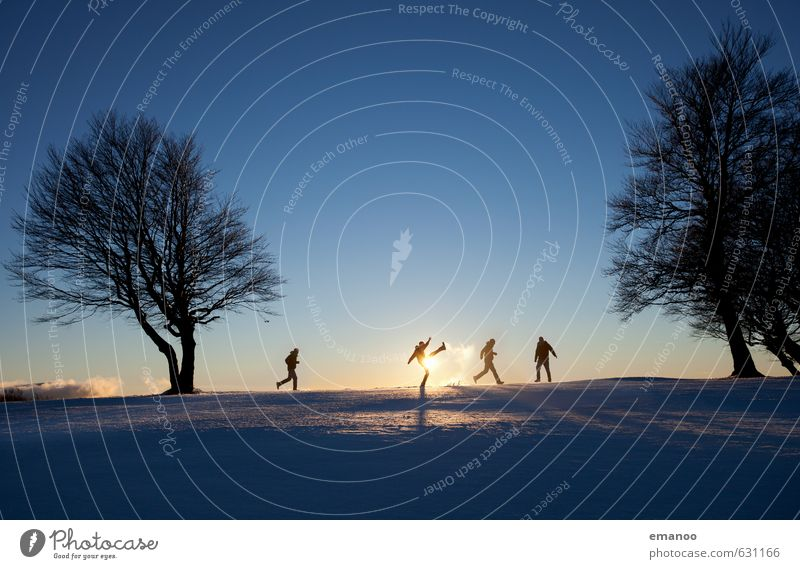 Human being Child Sky Vacation & Travel Man Tree Landscape Joy Winter Cold Adults Mountain Snow Movement Sports Playing
