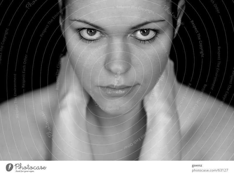 symmetry Woman Model Beauty Photography Cosmetics Black White babe Hair and hairstyles Wind Face Eyes Black & white photo