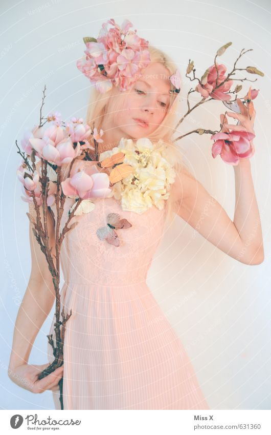 the tragedy last part Beautiful Human being Young woman Youth (Young adults) 1 18 - 30 years Adults Plant Spring Flower Blossom Dress Accessory Blonde Feminine