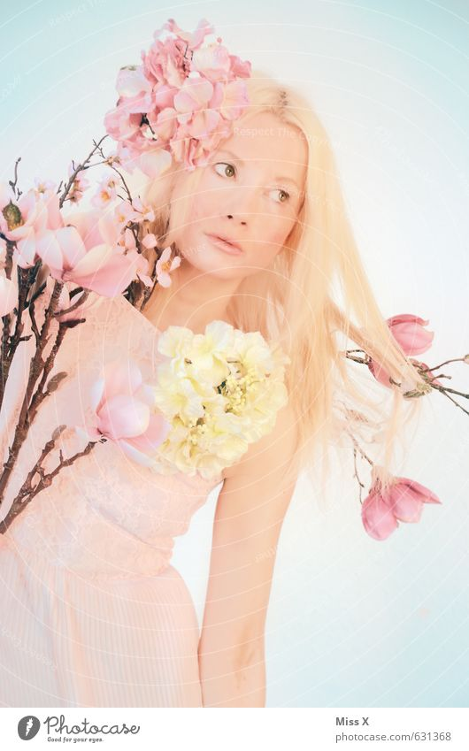 spring girl Beautiful Human being Feminine Young woman Youth (Young adults) 1 18 - 30 years Adults Nature Plant Spring Flower Blossom Dress Blonde Long-haired