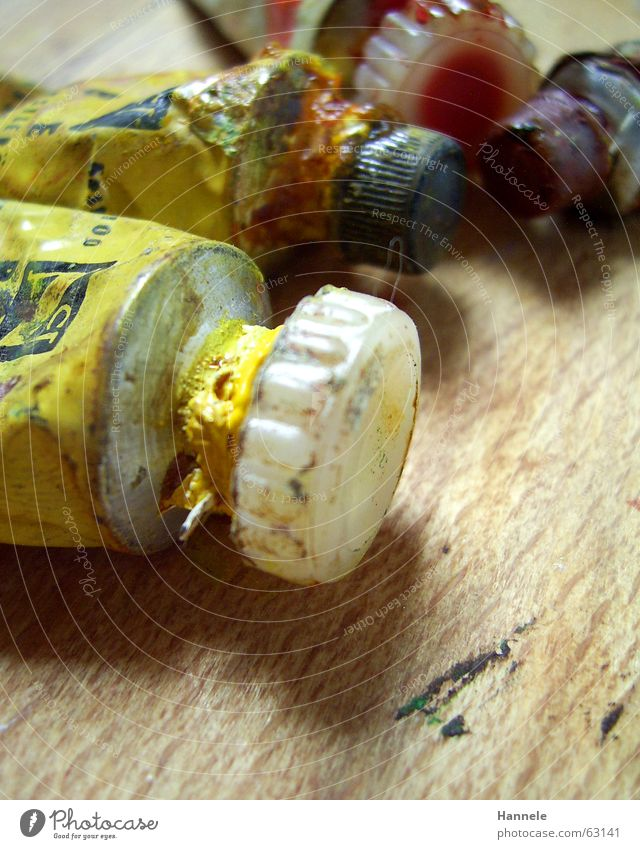 Old Yellow Colour Wood Art Painting (action, work) Painting and drawing (object) Oil Patch Inject Tube Dappled Oil paint