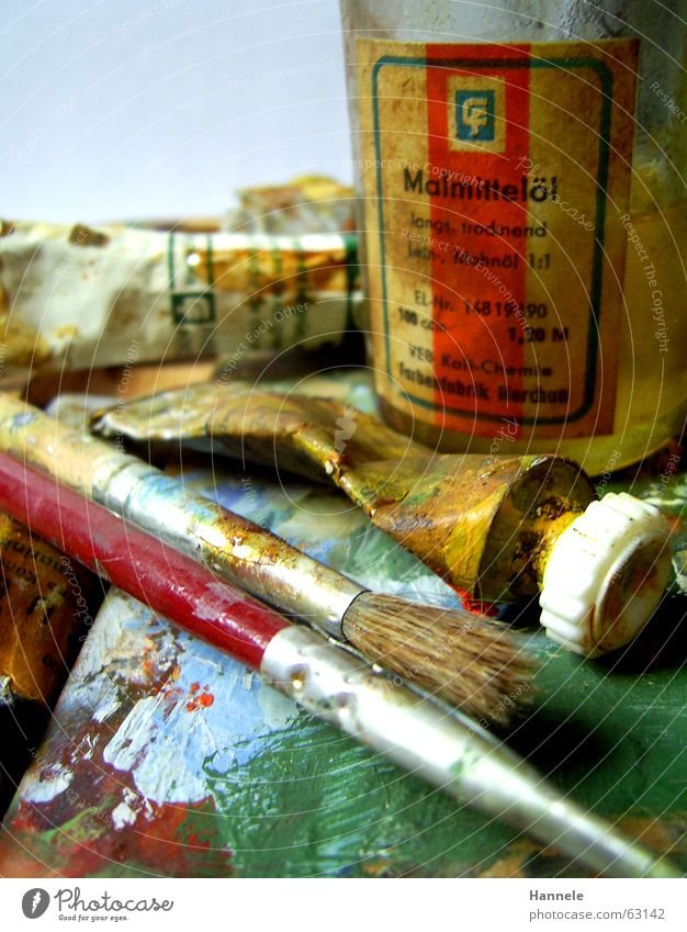 Old Yellow Colour Wood Art Painting (action, work) Fluid Painting and drawing (object) Oil Patch Inject Paintbrush Tube Dappled Palett Oil paint