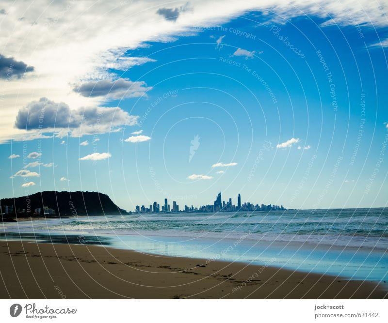 Sky Nature City Blue Sun Ocean Clouds Far-off places Beach Environment Coast Small Horizon Air Future Tilt