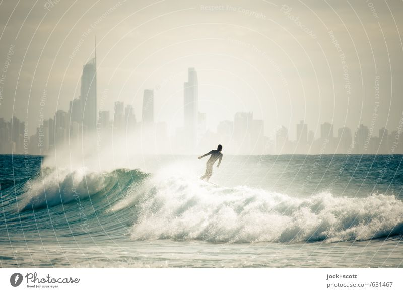 Surfer's Delight Surfing Pacific Ocean Skyline Sports Cool (slang) Fantastic Self-confident Leisure and hobbies Horizon Wave action Body control Glide