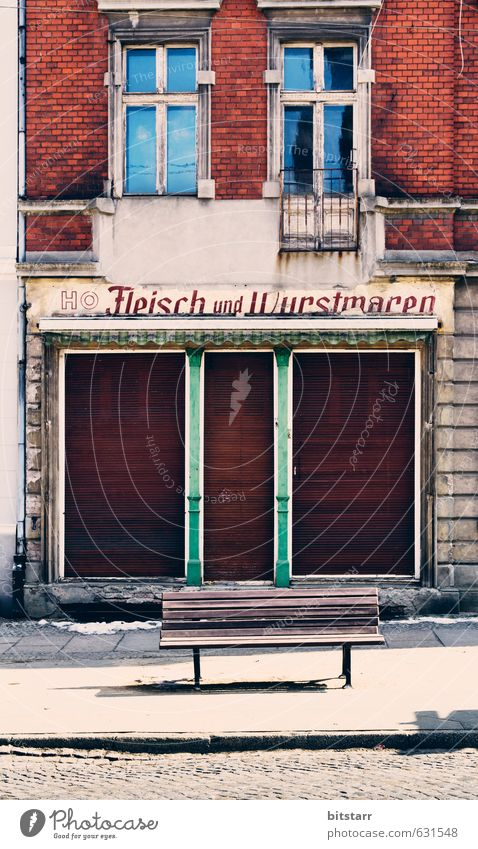 sausage bench Meat Sausage House (Residential Structure) Workplace Craft (trade) SME Unemployment Closing time Wall (barrier) Wall (building) Facade Window Door