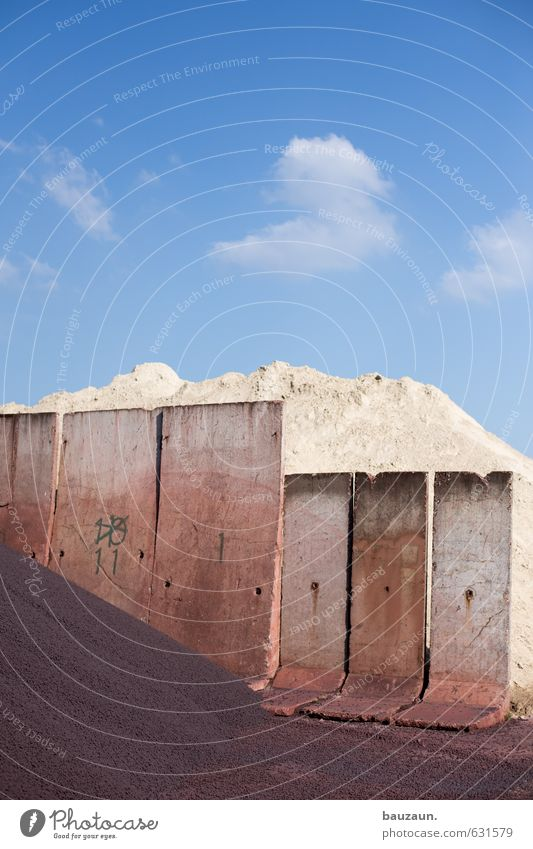 Sky Blue White Summer Sun Wall (building) Wall (barrier) Spring Gray Sand Brown Earth Beautiful weather Concrete Digits and numbers Industry