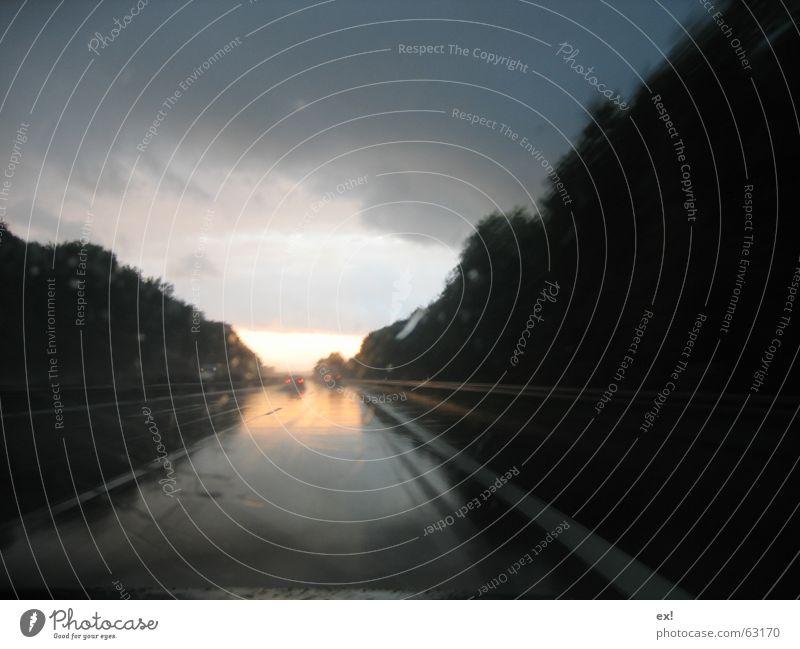 Sun Clouds Street Dark Car Rain Dangerous Highway Smoothness Windscreen Raincloud Dark clouds