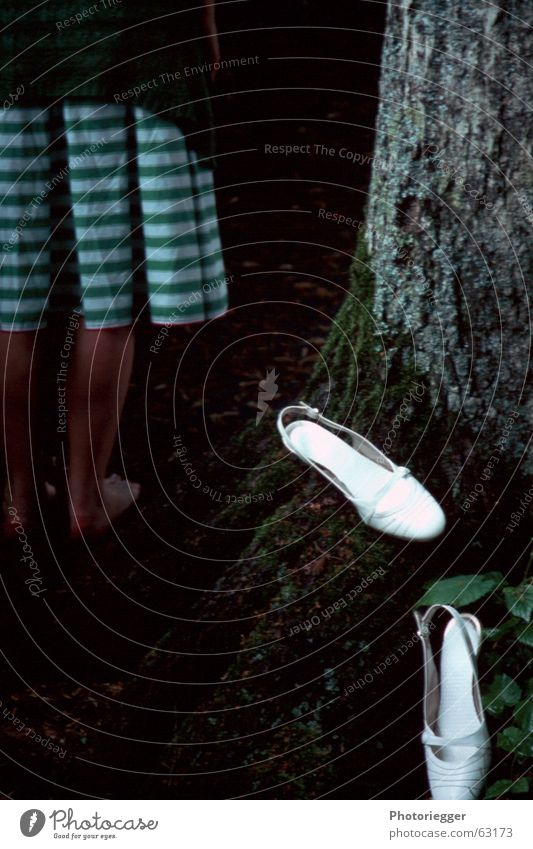 barefoot Dress Striped Tree Green Tree bark Barefoot white shoes Root Lady Moss