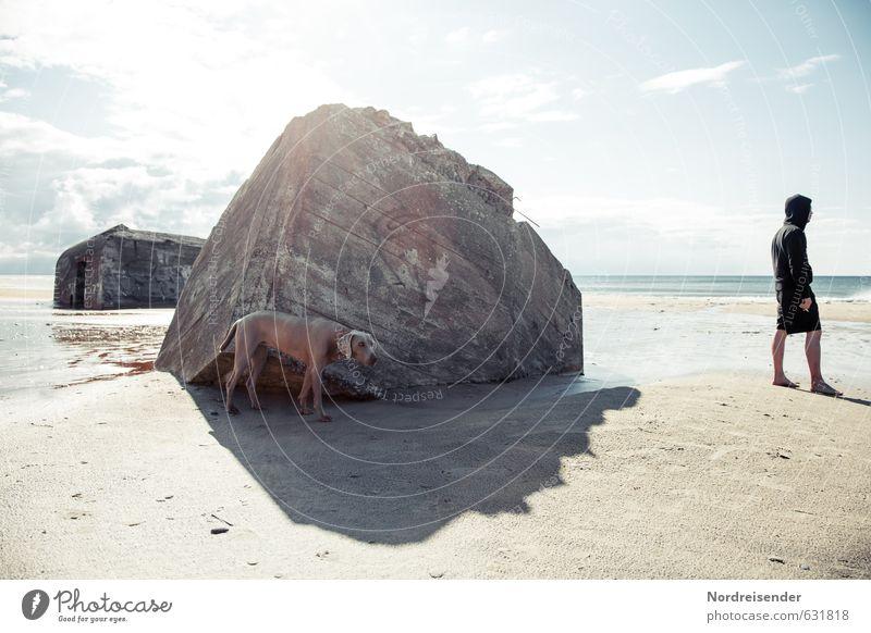 Dog Human being Man Water Summer Sun Ocean Animal Beach Adults Architecture Sand Bright Illuminate Beautiful weather Concrete