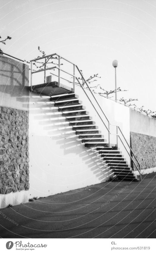 Rhine staircase Town Deserted Architecture Wall (barrier) Wall (building) Stairs Transport Traffic infrastructure Pedestrian Lanes & trails Beginning Target