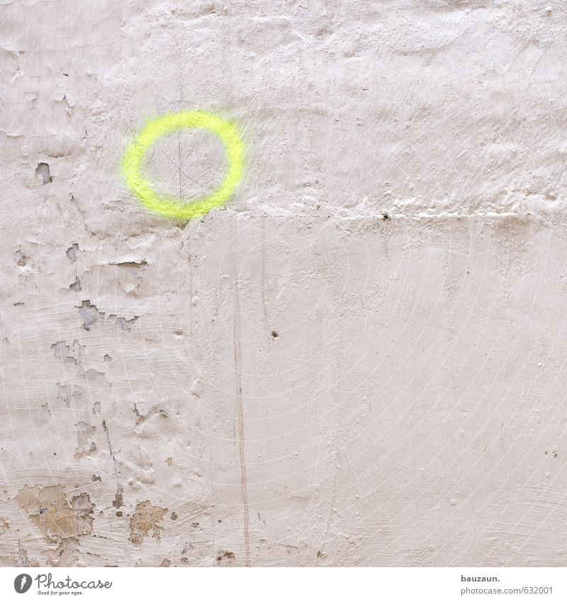 White Loneliness Yellow Graffiti Wall (building) Wall (barrier) Stone Facade Power Signs and labeling Beginning Circle Change Might Planning Construction site