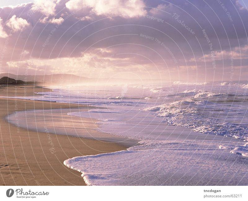 Eternal waves Beach huge Sand thin sea eternity frothy romance romantic eternal mountain clouds melancholy