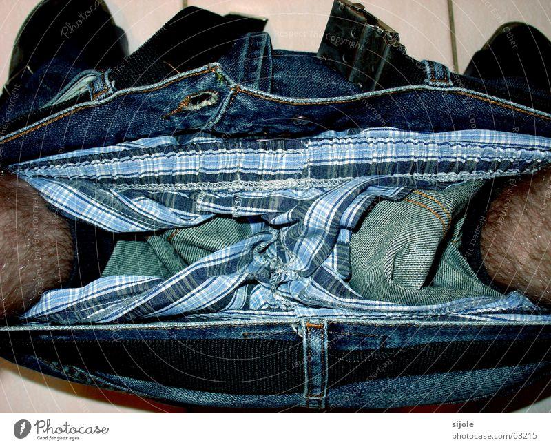Blue Black Loneliness Dark Feet Legs Brown Jeans Bathroom T-shirt Stripe Toilet Pants Store premises Under
