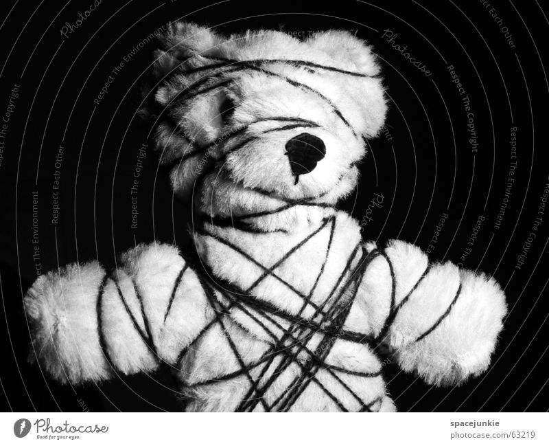 White Black String Bavaria Captured Bear Cuddly toy Teddy bear Handcuff Fetishism Cramped Shackled Limitation