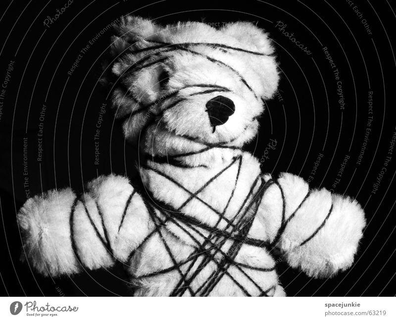 White Black String Bavaria Captured Bear Cuddly toy Teddy bear Handcuff Fetishism Cramped Shackled Limitation