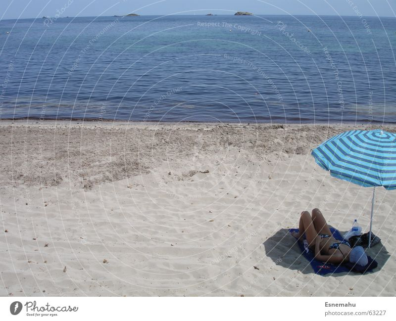 Woman Water Sky White Ocean Blue Summer Beach Vacation & Travel Relaxation Gray Sand Brown Waves Sleep Island