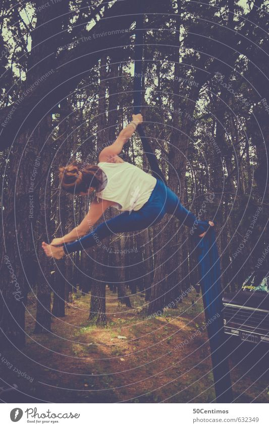 Acrobatic exercises in the forest Beautiful Personal hygiene Healthy Health care Leisure and hobbies Sports Fitness Sports Training Track and Field Yoga