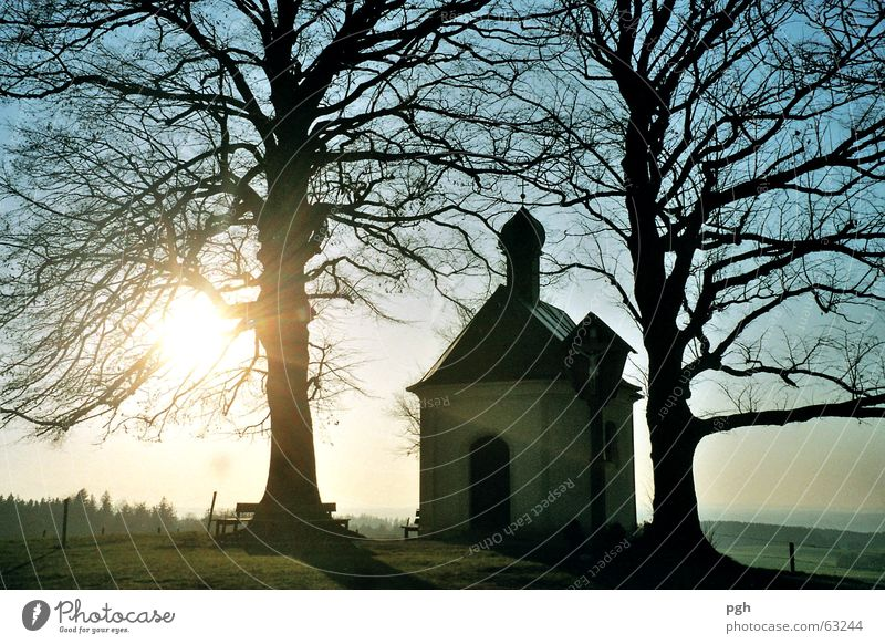Maria Dank chapel with sunset Sunset Moody Tree maria thanks to chapel in degerndorf magical place Sky Blue