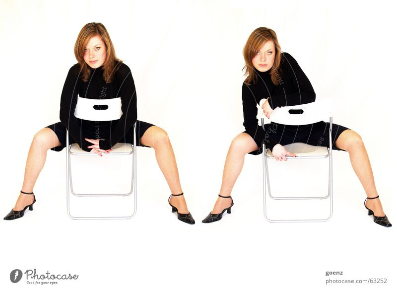 Woman Beautiful Black Fashion Chair Posture Cosmetics Double exposure Challenging