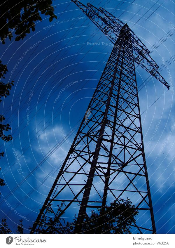 Sky Clouds Energy industry Electricity Cable Thunder and lightning 30 Electricity pylon Antenna Transmission lines High voltage power line Avaricious