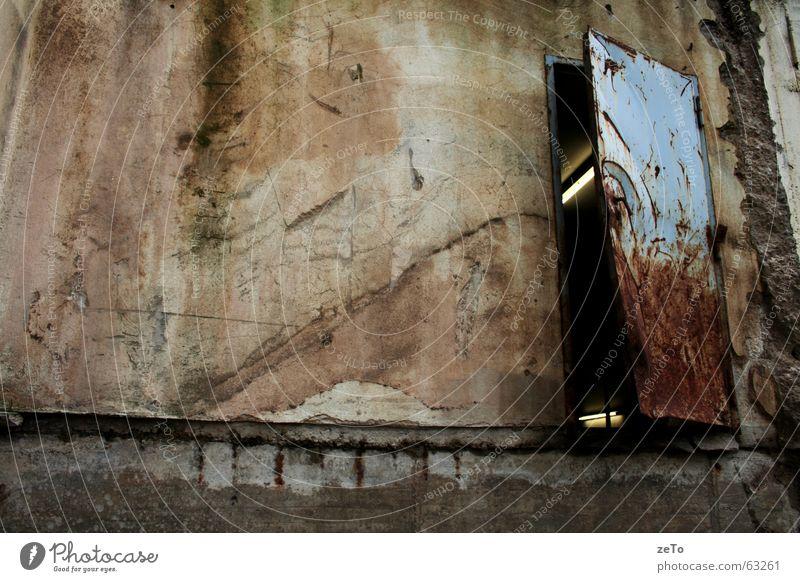 Open 24/7 Brown Broken Halogen lamp Garage Derelict Wall (building) Beige Green Exterior shot Rust Door Blue Stone Patch Dirty ruinousness Old