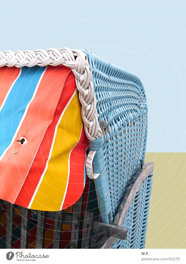 beach chair Beach chair Ocean North Sea Baltic Sea Coast Vacation & Travel Rent Blue Red Yellow Sand Striped Happiness Multicoloured Basket Sun blind Graphic