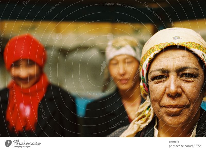 Woman Laughter Friendship Contentment Wrinkles Depth of field Headscarf Portrait photograph Congenial Kyrgyzstan Tajikistan