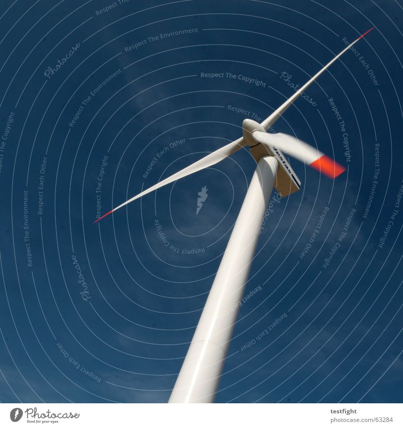Sky Blue Environment Movement Wind Energy industry Tall Electricity Wind energy plant Ecological Gigantic Alternative High-tech Renewable energy