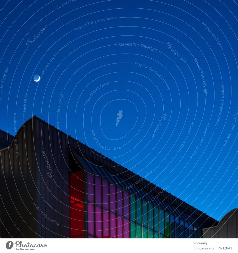 Up and down... Architecture Sky Cloudless sky Moon Town Building Facade Window Roof Glass Metal Sharp-edged Blue Green Red Black Line Silhouette Colour photo