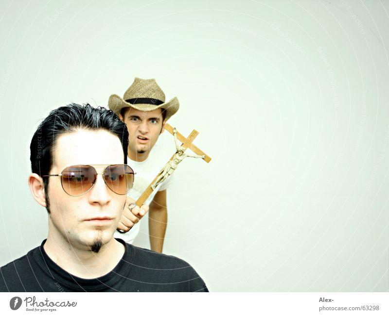 Man Black Dark Gray Funny Back Hat Hide Stupid Evil Sunglasses Pallid Magic Christianity Jesus Christ Cowboy