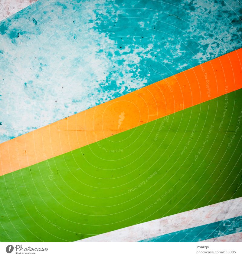 Old Green Colour Wall (building) Wall (barrier) Style Orange Elegant Design Concrete Cool (slang) Stripe Retro Decline Hip & trendy Turquoise