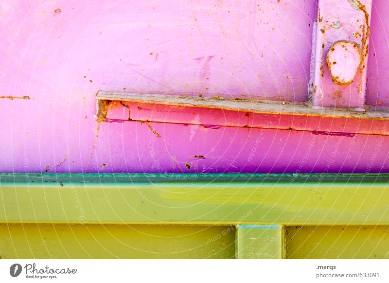 metal Style Design Industry Container Metal Line Simple Bright Hip & trendy Yellow Green Pink Colour Rust Colour photo Multicoloured Exterior shot Close-up