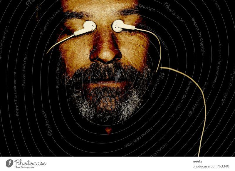 White Face Black Eyes Dark Gray Cable Listening Facial hair Headphones MP3 player