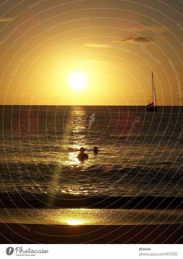 Human being Sky Water White Sun Ocean Beach Joy Clouds Colour Yellow Sand Warmth Lake Orange Watercraft
