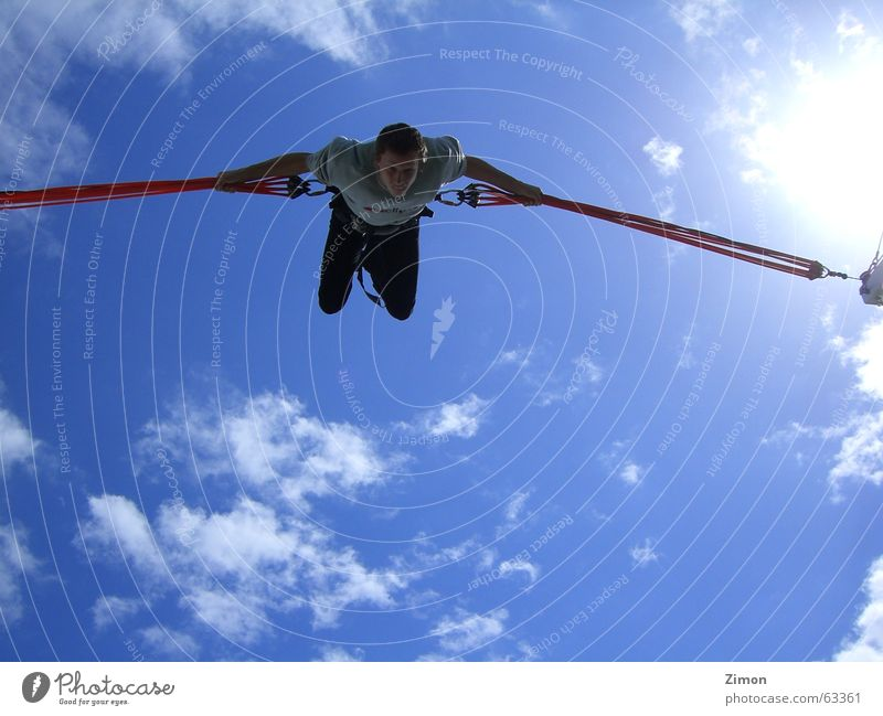 Fly so high Bungee jumping Fantastic Speed Clouds Salto bungy trampoline bungee trampoline flying jump sky Tall Happy Flying Blue Joy Freedom Level