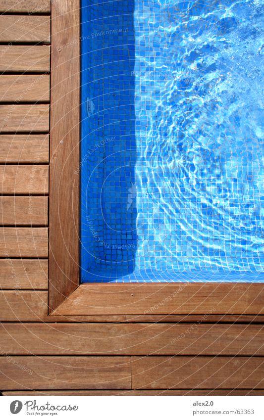 pool corner Swimming pool Calm Footbridge Wood Wooden board Brown Appealing Loneliness Restorative Relaxation Harmonious Spain Hotel Sharp-edged Corner Water